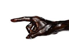 Indicare sporco della mano isolato su fondo bianco Fotografia Stock