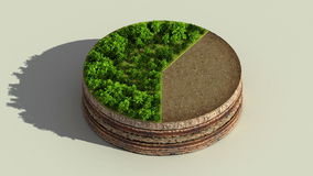 Indicate about60 percents circle diagram, chart. Eco Infographic elements with trees, leaves, earth and grass. stock footage