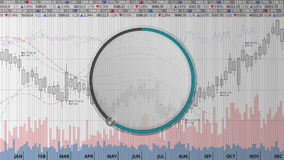 Indicate about 60 percents circle dial on various animated Stock Market charts and graphs(no text version) stock footage