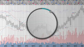 Indicate about 10 percents circle dial on various animated Stock Market charts and graphs(no text version) stock footage