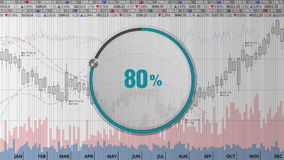 Indicate about 80 percents circle dial on various animated Stock Market charts and graphs(text version) stock footage