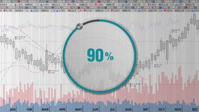 Indicate about 90 percents circle dial on various animated Stock Market charts and graphs(text version) stock footage