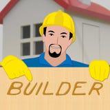 Indicates Real Estate 3d för husbyggmästare illustration Stock Illustrationer