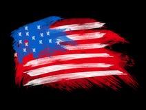 Indicateur américain dans des rappes de balai illustration stock