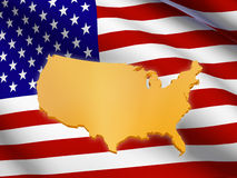 Indicateur américain et carte Photo stock