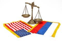 Indicateur américain et russe Photos libres de droits
