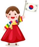 Indicateur coréen de fixation de fille sur le blanc Image stock