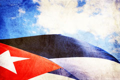 Indicateur cubain ondulant dans le vent illustration stock
