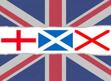 Indicateur d'Union Jack des indicateurs de l'Angleterre, de l'Ecosse et de l'Irlande Images stock