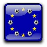 Indicateur de bouton de l'Europe avec des billes de football Photographie stock