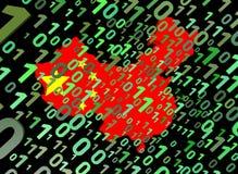 Indicateur de carte de binaire et de la Chine Image stock