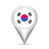 Indicateur de carte de drapeau de la Corée du Sud avec l'ombre Illustration de vecteur illustration libre de droits