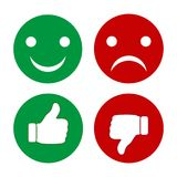 Indicateur de doigt et smiley des émotions Ensemble de boutons verts et rouges illustration de vecteur