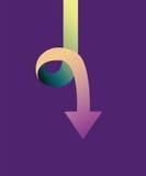 Indicateur de flèche coloré de zigzag vers le bas Images libres de droits