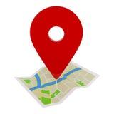 Indicateur de GPS sur la carte d'itinéraire d'isolement sur le blanc Photographie stock