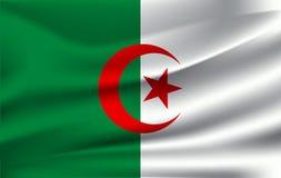 indicateur de l'Algérie Drapeau de ondulation réaliste de la République Democratic du ` s de personnes de l'Algérie illustration de vecteur