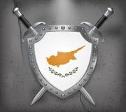 Indicateur de la Chypre Le bouclier avec le drapeau national Épée croisée par deux illustration stock