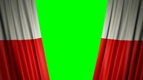 Indicateur de la Pologne animation 3d de s'ouvrir et de rideaux fermants avec le drapeau 4K illustration libre de droits