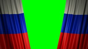 Indicateur de la Russie animation 3d de s'ouvrir et de rideaux fermants avec le drapeau 4K illustration stock