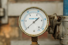 Indicateur de pression relié dans des tuyaux Photo libre de droits