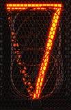 Indicateur de tube de Nixie, plan rapproché à décharge gazeuse d'indicateur de lampe Numéro sept de rétro rendu 3d Image libre de droits