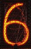 Indicateur de tube de Nixie, plan rapproché à décharge gazeuse d'indicateur de lampe Numéro six de rétro rendu 3d Images libres de droits