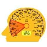 Indicateur de vitesse de véhicule dans le cerveau humain Image stock