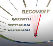 Indicateur de vitesse - reprise de récession Image stock