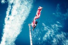 Indicateur des Etats-Unis d'Amérique ondulant sur le mât de drapeau Images libres de droits