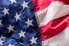 Indicateur des Etats-Unis Indicateur américain Vent de soufflement de drapeau américain Quatrième - 4ème de juillet Photographie stock