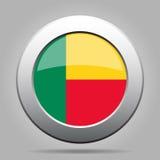Indicateur du Bénin Bouton rond gris en métal brillant Image libre de droits