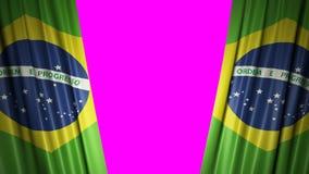 Indicateur du Brésil animation 3d de s'ouvrir et de rideaux fermants avec le drapeau 4K illustration de vecteur