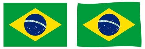 Indicateur du Brésil Version simple et ondulante légèrement illustration stock