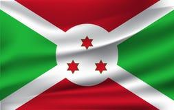 Indicateur du Burundi Drapeau de ondulation réaliste de la république du Burundi illustration stock