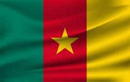 Indicateur du Cameroun Drapeau de ondulation réaliste de la république du Cameroun illustration libre de droits