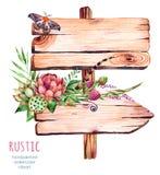 Indicateur en bois d'aquarelle Décoré des fleurs Image stock