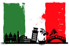 Indicateur et silhouettes de l'Italie illustration stock