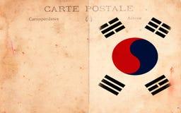 Indicateur grunge de la Corée du Sud de carte postale de vieux cru Photo stock