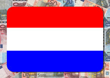 Indicateur hollandais avec des euro Photos stock