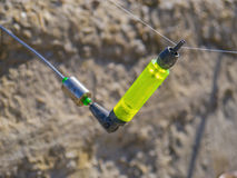 Indicateur lumineux de laitue de chaux sur la canne à pêche Photo libre de droits