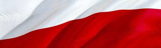 Indicateur polonais Indicateur de la Pologne conception de ondulation du drapeau 3D, rendu 3D Le symbole national du papier peint illustration stock