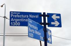 Indicateur sur la route chez Rio Grande Photographie stock