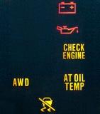 Indicateurs d'avertissement de tableau de bord de véhicule Photos stock