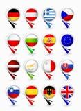 Indicateurs de carte de membres d'Union européenne avec des drapeaux Partie 2 Image stock