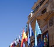 Indicateurs de l'Espagne et des Asturies Photographie stock libre de droits