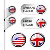 Indicateurs de langue avec l'anglais américain et britannique de drapeau - Images stock