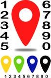 Indicateurs de position colorés des cartes avec le numéro 1 Image libre de droits