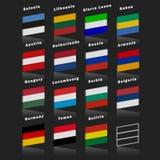 Indicateurs des pays du monde Drapeaux de pays de trois couleurs horizontal avec l'effet 3d illustration stock