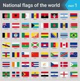 Indicateurs du monde Collection de drapeaux - ensemble complet des drapeaux nationaux Photographie stock libre de droits