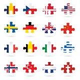 Indicateurs du monde en tant que parties de puzzle denteux illustration stock